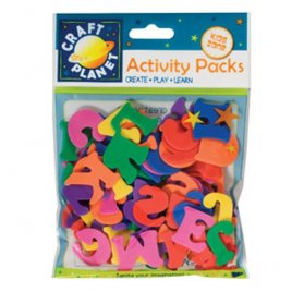 Lettres en mousse - Craft Planet - Multicolores - 25 mm