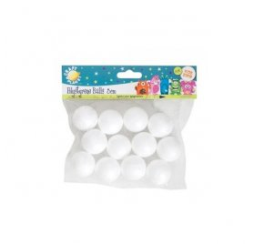 Lot de 12 Boules en polystyrène - Craft Planet - 3 cm
