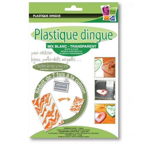 Plastique Dingue 'PW International' Mix Blanc/Transparent 26x20cm Qté 7