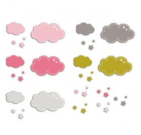 Die-cuts 'Toga' 20 Formes Nuages Rose/Vert/Taupe