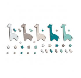 Die-cuts 'Toga' 20 Formes Girafes Bleu/Taupe