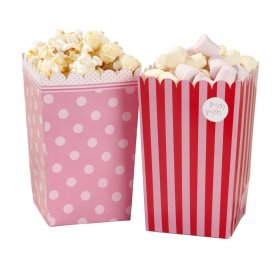 Boîtes à popcorn en papier 'Talking Tables' Pink N Mix 14x9 cm Qté 8