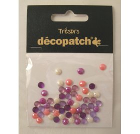 Lot de 60 Cabochons 'Decopatch' Rose/Violet 0.5 cm