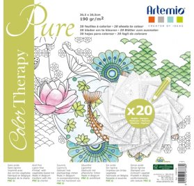 Cahier de coloriages 30x30 'Artemio - Color Therapy' Pure