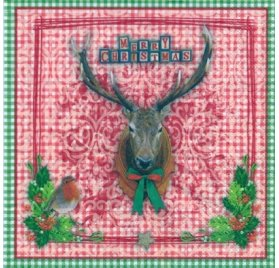 Serviettes 33x33 'Nouveau' Checkered X-Mas