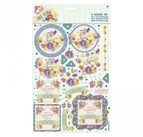 Assortiment A4 Découpage 'Docrafts' Folk Floral