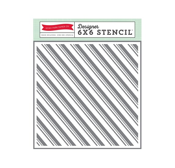Pochoir 15x15 'Echo Park Paper - The Story of  Christmas' Candy Canes Stripe Stencil