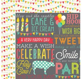 Papier double 30x30 'Simple Stories - Let's Party' Hip Hip Hooray!