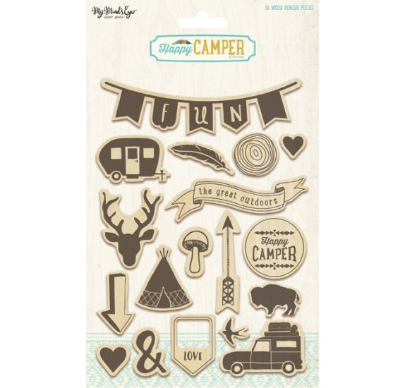 Embellissements en bois 'My Mind's Eye - Happy Camper' Qté 18