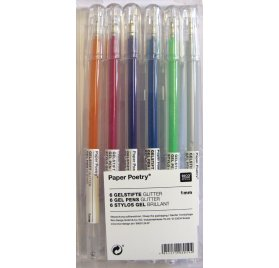 Lot de 6 stylos gel 'Rico Design - Paper Poetry' Brillant