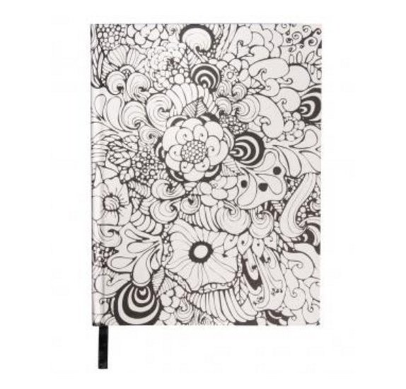 Carnet à colorier 'Rayher - Tangle' Notebook Orchid Blanc 16x21 cm 110g