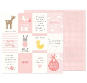 Papier double 30x30 'Pebbles - Lullaby' Baby Girl Quotes