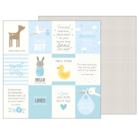 Papier double 30x30 'Pebbles - Lullaby' Baby Boy Quotes