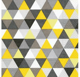 Serviettes 33x33 'Graine Créative' Triangles Jaune/Noir