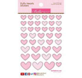 Autocollants 3D 'Bella Blvd -Puffy hearts' Coeur Rose Qté 40