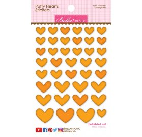 Autocollants 3D 'Bella Blvd -Puffy hearts' Coeur jaune Qté 40