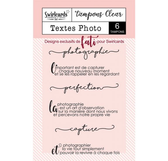 Tampons transparents 'Swirlcards' Texte Photo Qté 6