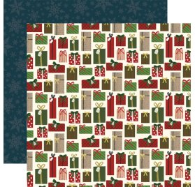 Papier double 30x30 'Echo Park Paper - Twas The Night Before Christmas' Winter Greenery