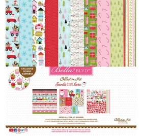 Assortiment 30x30 'Bella Blvd - Santa Stops Here' Qté 14