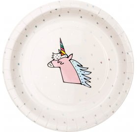 Assiettes en carton 'Rico Design - Let's Party' Licorne 22.5 cm