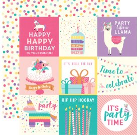 Papier double 30x30 'Echo Park Paper - Happy Birthday' 4x4 Journaling Cards
