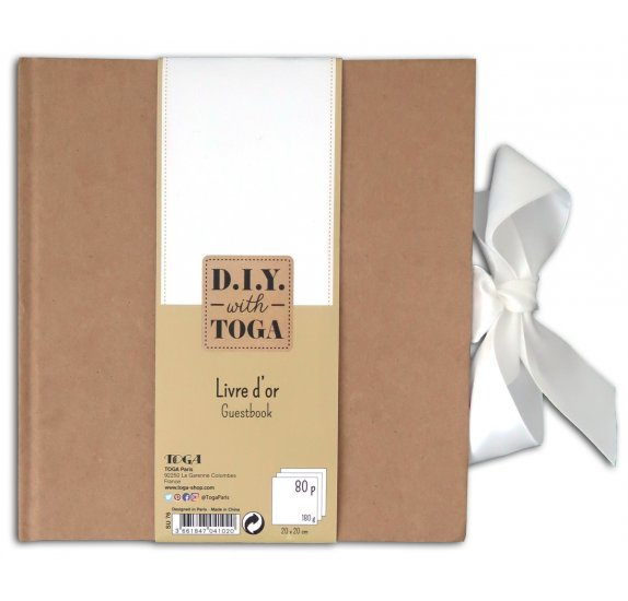 Livre D Or Toga Diy Kraft 20x20 Cm 80 Pages