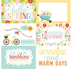 Papier double 30x30 'Echo Park Paper - Hello Spring' 4X6 Journaling Cards