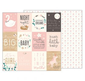 Papier double 30x30 'Pebbles - Night Night' Sweet Baby Girl