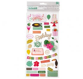 89 Chipboards autocollants 'American Crafts - Confetti Wishes'