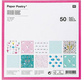 Assortiment de 50 papiers 15x15 Origami 'Rico Design - Paper Poetry' Wonderland Mix