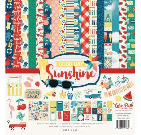 Assortiment de 12 papiers doubles et 1 planche d'autocollants 'Echo Park Paper - Good Day Sunshine'