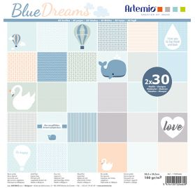 Assortiment de 60 papiers 30x30 'Artemio - Blue Dreams'