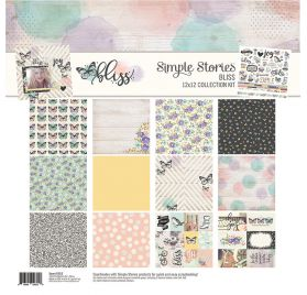 Assortiment de 6 papiers doubles et 1 planche d'autocollants 30x30 'Simple Stories - Bliss'