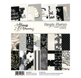 Assortiment de 24 papiers doubles 15 x 20 cm 'Simple Stories - Always & Forever'