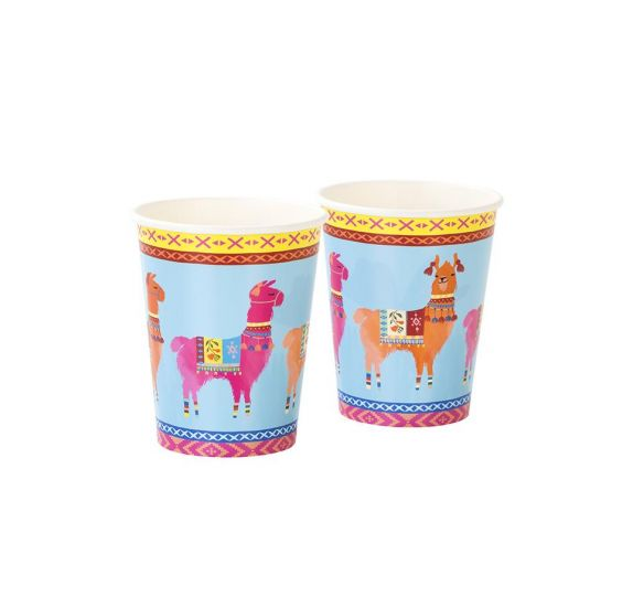 Lot de 8 gobelets en carton 250 ml 'Talking Tables - Boho Mix Llama' 9x7 cm
