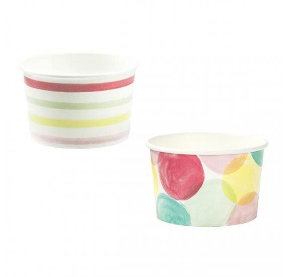 Lot de 10 pots de glace en carton 'Talking Tables - We Heart Ice Cream' 4.5x7 cm