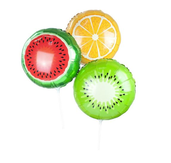 Lot de 3 Ballons en aluminium 'Talking Tables' Fruits  35 cm