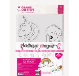 Kit Plastique Dingue 'Graine Créative by PW' 6 broches Kawaï