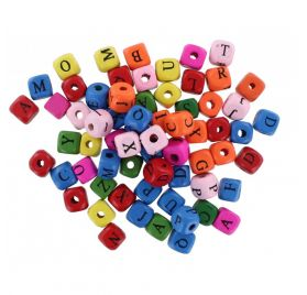 Lot de 500 perles en bois 'La Fourmi' Alphabet multicolores 10x10 mm