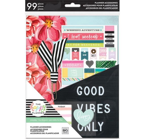 Lot de 99 accessoires pour organiseur pour étudiant 'Me & My Big Ideas - The Happy Planner' Good Vibes Only