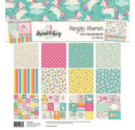 Assortiment de 12 papiers doubles 30x30 et 1 planche d'autocollants 30x30 'Simple Stories - Dream Big'