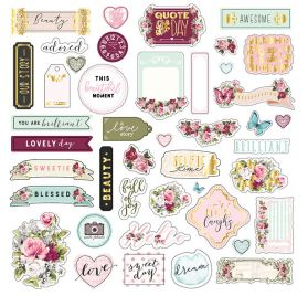 70 Die-cuts et autocollants 'Prima - Misty Rose'