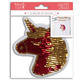 Ecusson en sequins magiques thermocollant 'Toga' Licorne Rouge et or