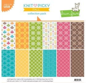 Assortiment de 12 papiers 30x30 'Lawn Faw - Knit Picky'