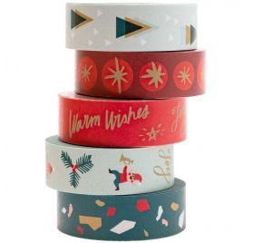 Lot de 5 scotchs décoratifs 'Rico Design - Paper Poetry' Jolly Christmas