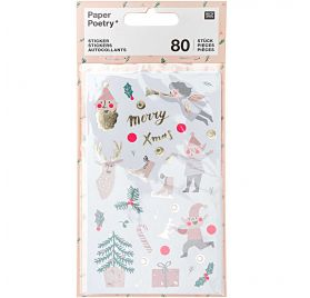 80 Autocollants 'Rico Design - Paper Poetry' Jolly Christmas Pastel