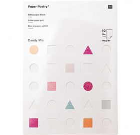 Assortiment A4 de 10 papiers pailletés 'Rico Design' Candy Mix
