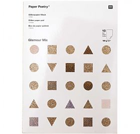 Assortiment A4 de 10 papiers pailletés 'Rico Design' Glamour Mix