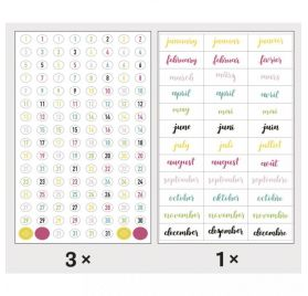 Autocollants 'Rayher - My Planner' Chiffres et mois Happy