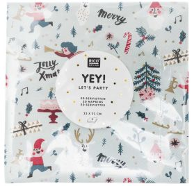 20 Serviettes 33x33 'Rico Design - Let's Party' Jolly Christmas